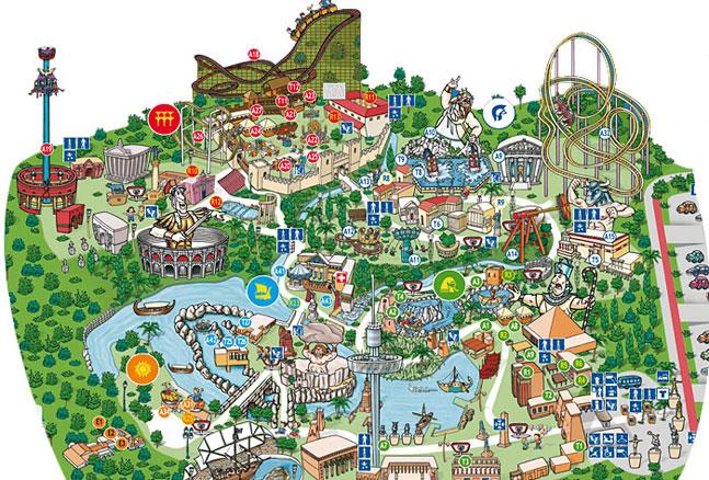 Mapa de atracciones y espectáculos de Terra Mitica en Benidorm